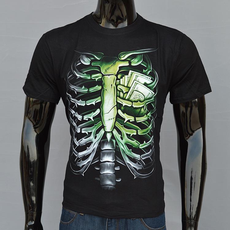 New 2014 Hot Men Summer 3D T shirt Streetwear Fashion Casual O-neck T-shirts Designed Ribs&Cash Europe Size,S-XXL MT008(China (Mainland))