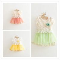Hu sunshine wholesale new 2014 New Kids summer dress Cotton lace hollow dress pink yellow  WW11272584H