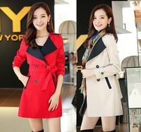 Plus Size M-XXXXL Free Shipping 2014 New Korea Fashion Autumn Women Elegant Contrast Color Slim Trench Coat Casual Outerwear