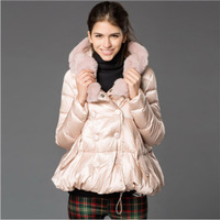 2015 Limited Real Double Breasted No Broadcloth 32 Winter Jacket Women Coat Fashion Doll Hair Tie Down Cap Loose An A-line Shape