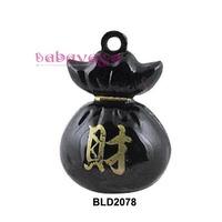 Hotsale Metal Black Wealth Bag Souvenir Bells Fit Charms Pendant Christmas Party New Year Decoration