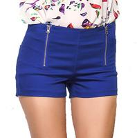 Burst models  Europe  America fluorescent green double zipper shorts shorts shorts Slim candy colored harem pants