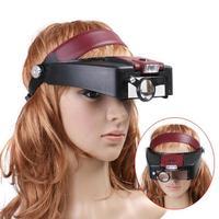 Jeweler Magnifier Headband LED Light Lamp Magnifying Eye Glass Loupe Head Visor