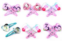 5 designs Frozen,Tinker Bell,my little pony,hello kitty,peppa pig BB hairclip,drip metal heartshape glass cartoon kids hairpin