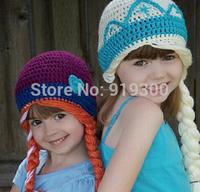 New Hot Sale Frozen Hats Kids Baby Girls Handmade Hats Winter Warm Crochet Knitting Elsa Anna Caps S/M/L/XL Available #F156
