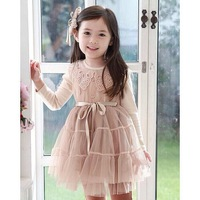1 x Little girl's dress for 3-12 years old Tutu Lace long-sleeved baby girl dress outerwear sweater children's winter clothing