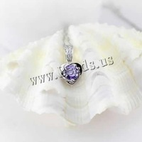 Free shipping!!!925 Sterling Silver Pendant,Vintage, with Crystal, platinum plated, faceted & with rhinestone, 7mm