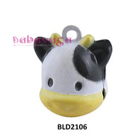 Enamel Cute Cow Cartoon Bells Fit Charms Pendant Christmas Party New Year Decoration