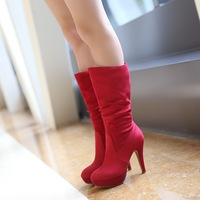 Large size  new arrive drop wholesale fashion  slip-on thin heels nubuck leather mid-calf boots for women Z1LLY-8-337