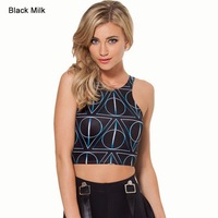 Black Milk New Fashion Women Tops 2015 Stylish Harry Potter Deathly Hallows Tank Top Women Fitness Sport Casual Top cropped XXL