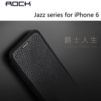 New Arrival!Rock Brand Jazz Series Leather Case For iPhone 6,Luxury Import litchi grain head layer cowhide for iPhone 6