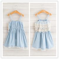 Hu sunshine wholesale new 2014 fashion Summer girls lace sex princess denim sling dress WW11272589H