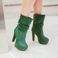 big size  new arrive drop wholesale fashion women Japan and South Korea trend square heel flock nubuck boots Z1ZSM-66-1
