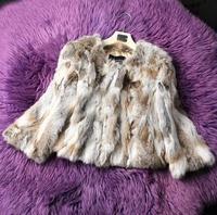 Fur Coat S XXL Genuine Natural Sliced Rabbit Fur Coat Jacket Short Design 2014 New Winter Women Fur Outerwear Coats