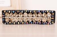 2014 Square Cut Glass Stone Cintos Femininos Brand Luxury Fashion Accessories Rhinestone Elastic Waist Thin Belts For Women