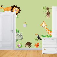 Cd0012015 new lion giraffe monkey Zoo, a children's room backgrounds-Asian wall stickers