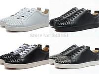 White Black Genuine Leather Low Top Sneakers For Men & Women, Luxury Spike Toe Louis Junior Men's Flats