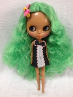 Free shipping Nude dolls(green hair,black skin )