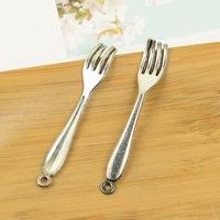 100pcs/lot A3295 antique silver Fork shape alloy charm pendant fit jewelry making 8X52MM Wholesale