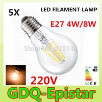 5x Energy saving E27 4W 8W Led Filament Light Bulb 360 Degree white,warm white lamp bulbs for home/indoor/kitchen AC220V AC230V