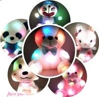 Birthday gift colorful light-emitting pillow plush toy bear cloth doll