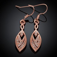 KZCE004-B // hot sale Factory Price Rose gold plated Earrings , high quality fashion jewelry gold plated Popular Earrings