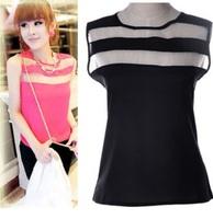 Women Tulle Blouses 2015 Chiffon Sheer Blusa Feminias Sleeveless Tanks Summer Tops 5 Colors S-XL