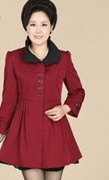 new antumn Quinquagenarian women Middle-aged soild color silm temperament windbreaker fashion trench coat outwear 3color XL-4XL
