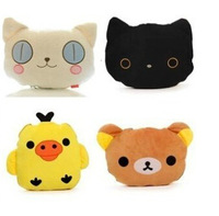 Super cute soft plush Rilakkuma/ cat / yellow chicken Air Condition Blanket 2 in 1 Back Pillow cushion, birthday gift , 1pc