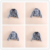 Hu sunshine wholesale NEW 2014 Girls fashion Autumn and winter long-sleeved turn-down collor denim jacket WW11272596H