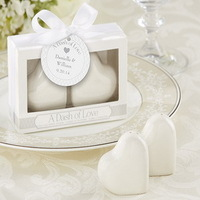 "200PCS/LOT(100BOXES) Wedding Gifts of ""A Dash of Love"" Ceramic Heart Salt and Pepper Shakers+FREE SHIPPING"
