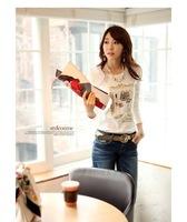 2015 WInter and Spring new women t-shirt 100% cotton printed women basic shirt long sleeve Casual women tops Ae62