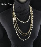 High Quality Fashion Statement Korea Style Gold Metal Choker Chain Mix Pearl Sweater Long Multirow Necklace Pendants Jewelry,C79