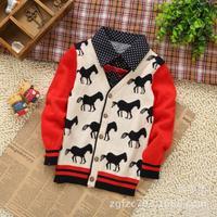 New children's clothing wholesale ~ export Korean youngster Jacquard Cardigan shirt collar ~ boy cartoon child sweater