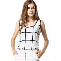 European  American big summer chiffon shirt black  white plaid linen halter vest bottoming shirt