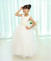 1pcs Retail white flower girls dress princess party dresses for weddings summer 2014 kids prom dresses  free shipping A-09