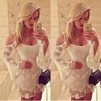 New Arrivals 2014 Winter Fashion Women Off-shoulder White Lace Dress vestidos de venda Long Sleeved Short Mini Women Party Gown