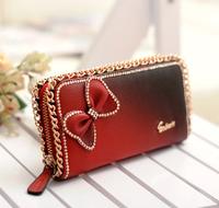 2014 New Hot Women Wallets Lady Purse Card Fashion Long Wallet Bow Butterfly Diamond Free Shipping