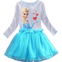 2014 new arrive princess dress brand freeze elsa and Anna's cartoon girls wearing dress elsa girl dress frozen clothes