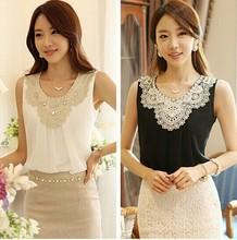 Blusas Femininas 2014 mulheres Blusas de Chiffon dobras sem mangas colete roupas casuais Blusas mulheres rendas de croché renda Plus Size(China (Mainland))