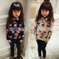 Children's clothes autumn jacket girls horses sweatshirts pony rose blossom girls Turtleneck sweaters