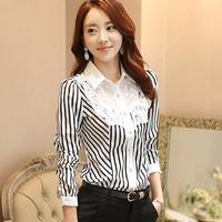 2014 women fashion elegant white striped lace long sleeve loose chiffon blouses,s-xxxl