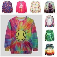 Emoji/Sexy Lips/Green Leaves/Galaxy Cat/Bear Printed Hoodies Brand Design Outwear Tops Autumn 2015 New Hot Sale Woman Sweatshirt