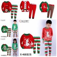 2014 fashion cartoon Christmas frozen pajamas fall spring new stripped 3d snowman olfa boy pijama retail baby kids pyjamas