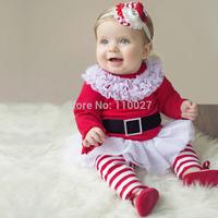 baby set for Christmas kids red t shirt dress with lace + stripe leggings children girls fashion suit 2pcs clohting set 5pcs/lot