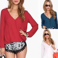 Fashion New Womens Casual Long-sleeved Chiffon Blouse Shirts Tops