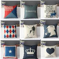 Linen fluid print pillow kaozhen cushion lumbar pillow tournure
