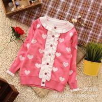 New children's clothing wholesale ~ Korean child Cardigan ~ girls cotton flouncy versatile cardigan sweater