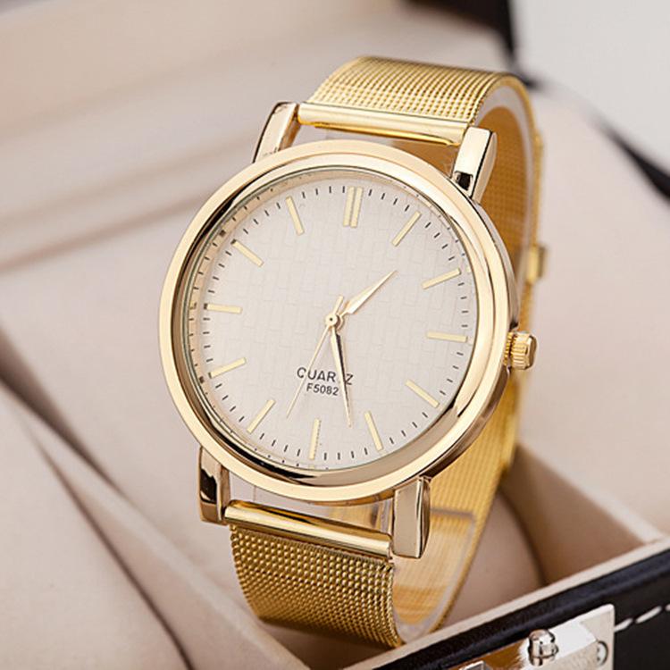 2015 nova banhado a ouro de malha banda mulheres vestido relógios rhinestone quartz relógio de luxo pulseira de pedras preciosas completa aço relógios de pulso(China (Mainland))