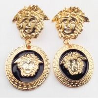 2014 NEW arrival Exaggerated  Baroque style vintage queen /lion portrait coin drop earrings  E-134